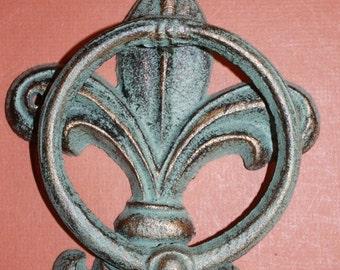 ON SALE 1)pc, Bronze-look Fleur De Lis Door Knocker FREE Shipping, Fleur De Lis Door Decor, New Orleans front door decor,  knocker, F-22