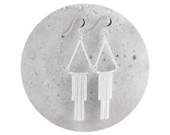 earrings - earrings with miyuki beads and chains