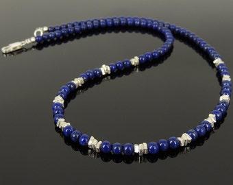 Men's Women Lapis Lazuli 925 Sterling Silver Necklace Handmade Nugget Beads & Clasp DiyNotion Handmade NK154