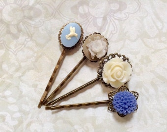 NEW! Hummingbird And Floral Hair Clips