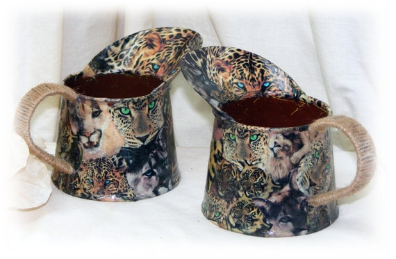 TWO ADORABLE PITCHERS . . . small metal & decorative . . . custom decoupaged jungle cats