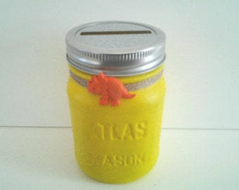 Children's coin bank, hand painted pint size atlas mason jar