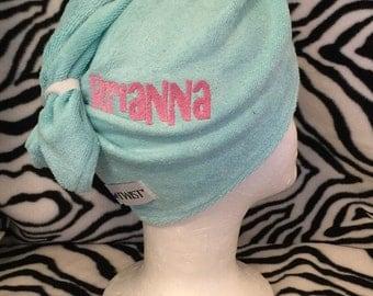 Twist Hair Turban Towel - Personalized - Wedding Hair towel, Swim Club Hair towel, Gym Hair towel, Shower Hair towel, AQUA