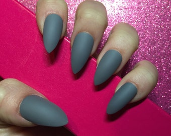 Luxury Hand Painted False Nails. Stiletto Matte Grey Nails. 24 Nail Set.