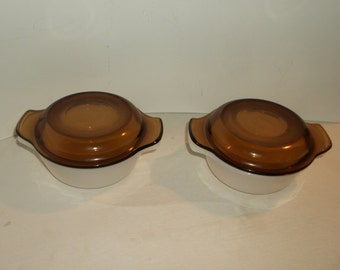 White fire king bowls with brown lids