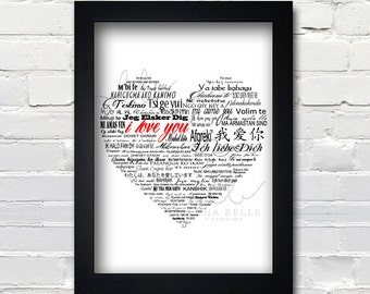 I love you 100 languages black white red heart text art 8x10 print PRINTABLE Instant Download