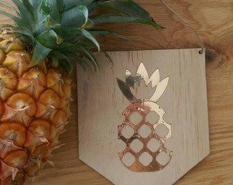 Pineapple wall art. Timber wall art with gold foil pineapple design