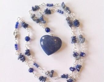 Deep Blue Necklace 'Indigo Power' ~ Lapis Lazuli ~ Heart ~ Sodalite ~ Wire Wrapping