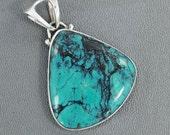 Natural Tibetan Turquoise Pendant, Green Gemstone Pendant, Set In Sterling Silver Jewelry, Solitaire Pendant, Artisan Handmade