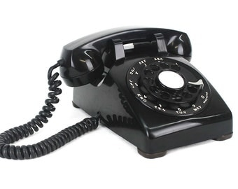 Completely Restored & Refurbished Working Vintage Rotary Dial Phone - Black