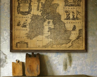 "Map of British Isles 1631 Historical map of Great Britain and Ireland up to 48x36"" (120x90cm) Old British map - Limited Edition of 100"