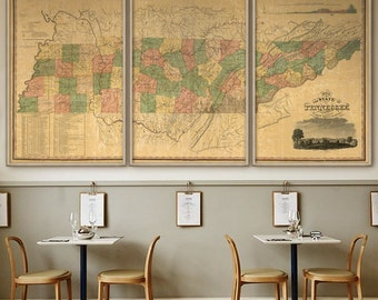 Map of Tennessee 1832, Vintage Tennessee map, 4 sizes up to 9 feet wide, comes in 1 or 3 parts, also in blue - Limited Edition of 100