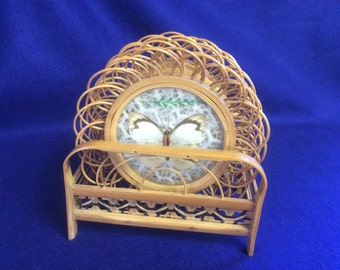 Rattan and Butterfly Coaster set of Six with Stand