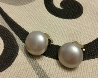 Vintage Luster Silver Faux Pearl Clip Earrings 1950