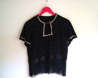 SALE Vintage 70s handmade top with fringe detail