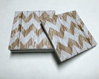 Brown Chevron Coasters - Chevron Home Decor - Drink Coasters - Tile Coasters - Ceramic Coasters - Table Coasters On Sale