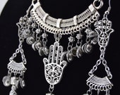 Large Hamsa - Hands off the Belly Dancer Tribal Statement Necklace / Necklace Set