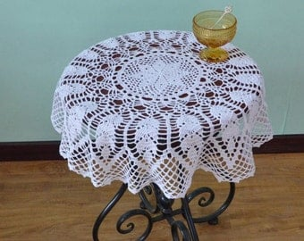 """Approx. 29"""" inches round tablecloths, cocheted table cover round, table topper, handmade table cover, vintage table topper for home decor"""