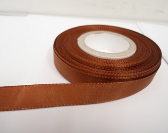 8mm 15mm 25mm 40mm Rolls, Chestnut, Dark Brown Taffeta ribbon, 2 metres, Double sided,