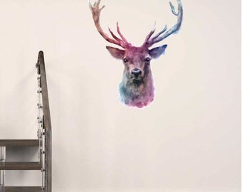 Wall Decal Deer Stag Water Colour Buck Wall Stickers Home Decor
