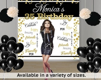 Birthday Words Party Personalized Photo Backdrop -Milestone Photo Backdrop- 30th Birthday Photo Booth Backdrop, Custom Printed Backdrop