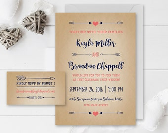 Coral and Navy Wedding Invitation Set | Hearts and Arrows | Rustic Wedding | Coral Wedding Announcement | Navy Blue | Printed or Printable