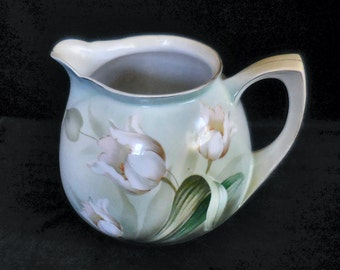 R.S. Germany Porcelain Cider Pitcher  with White Tulips