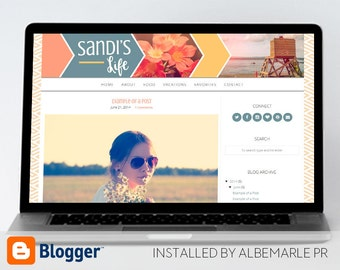 Premade Blogger Template Peach, Blue, and Yellow Arrows and Images - Sandi