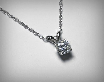 Diamond Necklace Pendant, 14K White Gold, Genuine Diamond Jewelry, Solitaire Diamond Pendant Necklace, Natural Diamond Solitaire Necklace