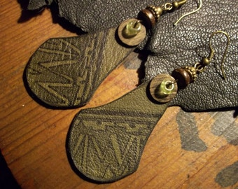 Tribal Earrings-Earthy Leather Earrings-Rustic Bohemian Earrings-Boho Jewelry