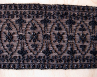 Mokuba Black Embroidered Lace By The Yard, Metallic Black