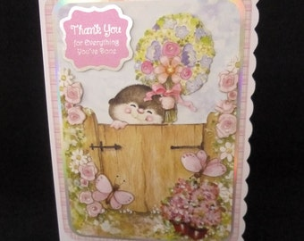 Cute Mole 'Thank You' Card - Handcrafted 3d Decoupage Card - See shop announcement for 10% off code