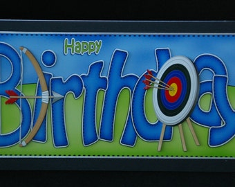 Happy Birthday 3d 'Archery'  Decoupage Card - Handcrafted in the UK