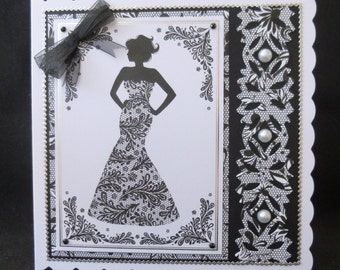 Elegant Lady in Monochrome - Handmade card from uk - Great for 18th or 21st Birthday or any age Birthday