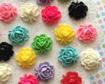Resin flower mix - flower cabochons - flower embellishments - cute flower mix lot - mix lot cabochons - 10 pieces - flat back resin flowers