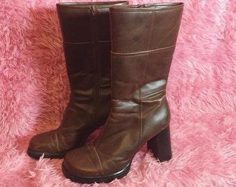 Vintage 90's Size 9 Sketchers Brand High Chocolate Brown Platform Go-go Boots