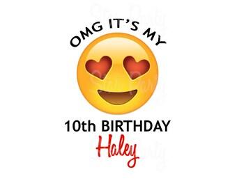 Personalized Emoji, Emoticon, Emoji Party, Emoji Birthday, heart, heart eyes, shirt Printable Iron On Transfer Sticker custom Birthday Shirt