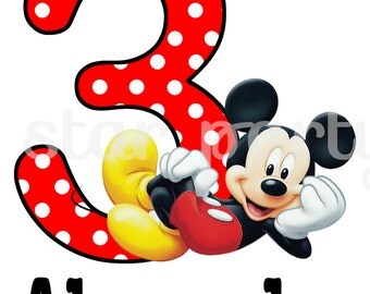 Personalized Mickey Mouse Digital Image for T shirt, Printable Iron On Transfer, Sticker custom Birthday Shirt image
