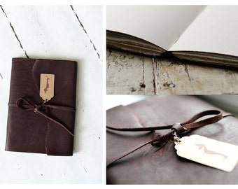 Sketchbook for Watercolors, hand bound in leather covers // gift for artist