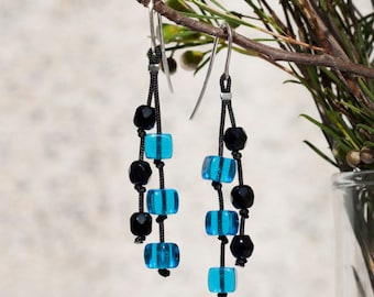 Long earrings, one of a kind, blue and black, czech glass and silver.