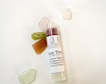 Berry Tinted Lip Balm- with Organic oils, naturally tinted with Alkanet root , dyes and mica free