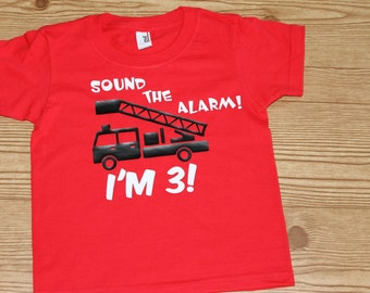 Boy's Birthday Shirt with fire truck engine and age or number