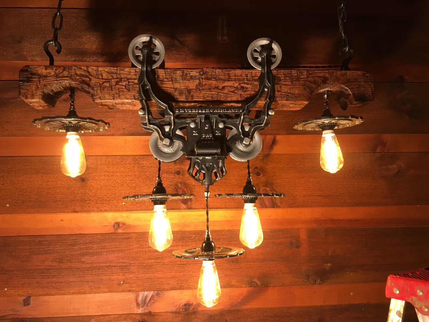 Rustic Chandelier Wood Beam Hay Trolley Light