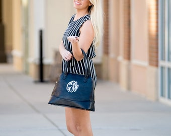 SALE!! Monogrammed Handbag - Navy Purse - Monogram Gift