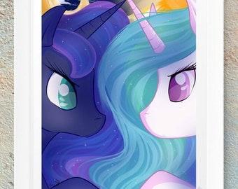 MLP My Little Pony FIM Princess Luna & Princess Celestia Fan Art Print Gift Handmade Design