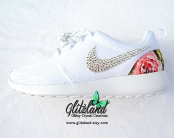 ukfxt Swarovski Nike Girl /Woman Black & White Nike Roshe by Glitzland