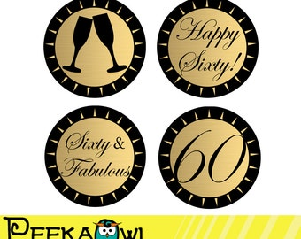 Instant Download Champagne Golden Black 60th Birthday Cupcake Toppers - Printable Sixty and Fabulous topper, Favor tags, and Sticker!!!