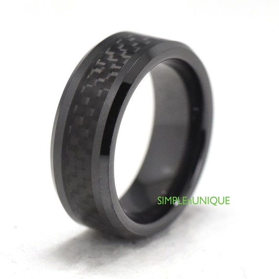 Mens Black Ceramic Band Ring Engagement Wedding by SIMPLEnUNIQUE