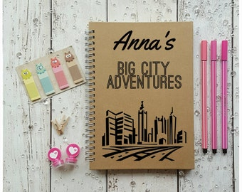Personalised Notebook Gift, Stationery Gift, Adventure Journal, Customised Stationery Supplies, Big City Adventures, Personalised Journals