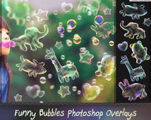 Bubbles Photoshop Overlays,  Animals shaped Soap Bubbles Overlay, Realistic Soap  bubble Photo effect, digital bacdrop